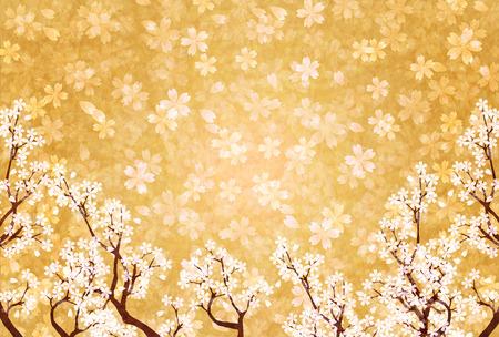 Spring Japanese paper cherry background Illustration