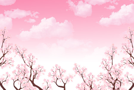 spring tree: Spring New Years card cherry background Illustration