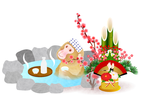 openair: Monkey Kadomatsu hot spring greeting cards