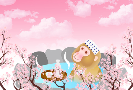 openair: Monkey cherry hot springs New Years card