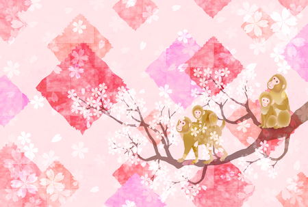 japanese pattern: Monkey greeting cards cherry background