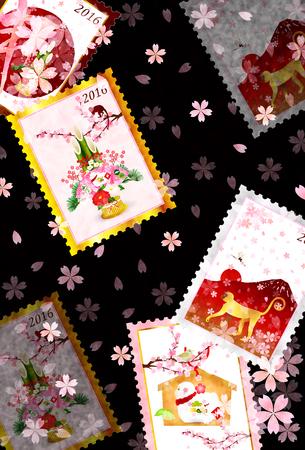 sho chiku bai: Monkey greeting cards cherry background