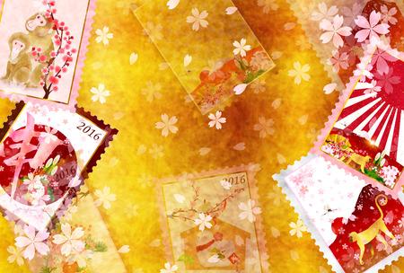 sho chiku bai: Monkey Fuji cherry tree background