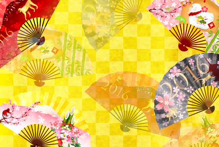 japanese pattern: Monkey Fuji New Years card background