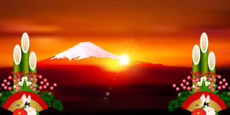 a sense of: Fuji Sunrise New Year background