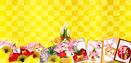 ema: New Year New Year Japanese paper background
