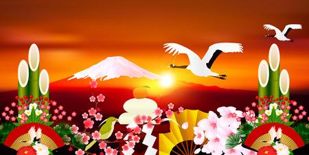 sho chiku bai: Fuji Sunrise New Year background