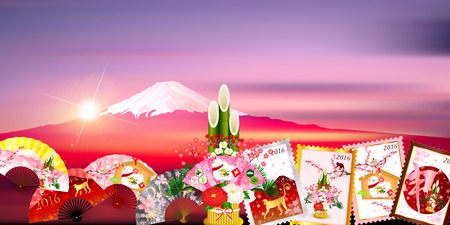 ema: Fuji Sunrise New Year background
