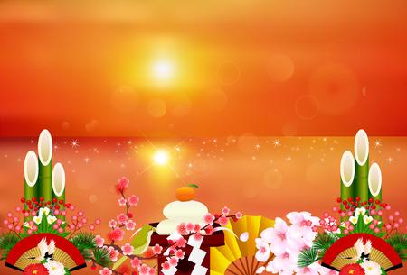 sho chiku bai: Sunrise New Year cherry background Illustration