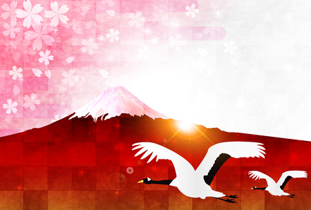rooster at dawn: Rooster Fuji New Years card background