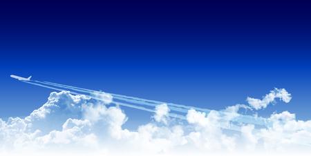 Samolot odrzutowy tle nieba