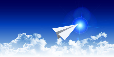 paper airplane: Paper airplane sky clouds background Illustration