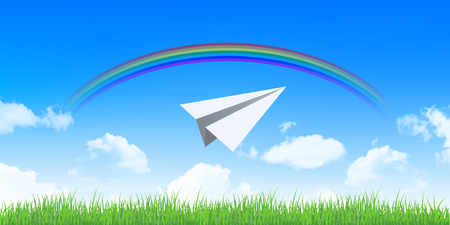 sky and grass: Paper airplane sky clouds background Illustration