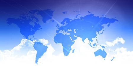 sky sun: World map sky technology background