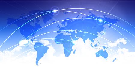 World map sky technology background