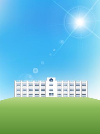 grasslands: School sky landscape background Illustration