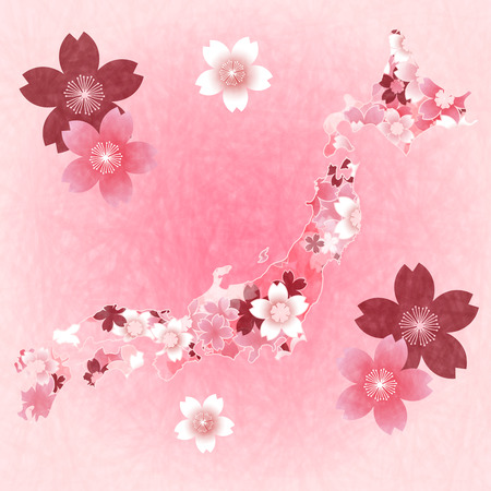 spring in japan: Cherry Spring Japan map background