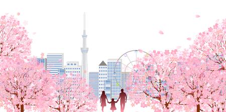 Kirsche Frühling Gebäude Hintergrund