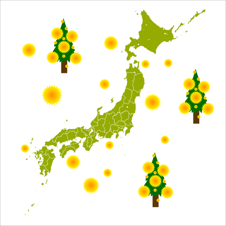 Map of Japan pollen icon