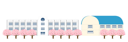 gymnasium: Cherry school spring background
