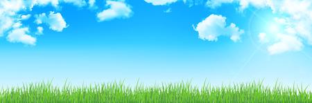 grasslands: Sky clouds landscape background Illustration