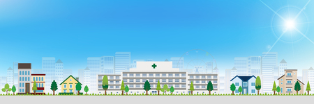 building material: Hospital house landscape background