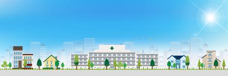 building backgrounds: Hospital house landscape background
