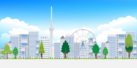 early summer: Tokyo tree landscape background