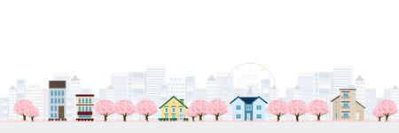 background house: Cherry Spring House background Illustration
