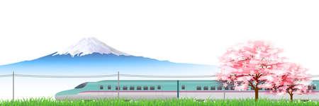 shinkansen: Shinkansen Cherry Hokkaido background Illustration