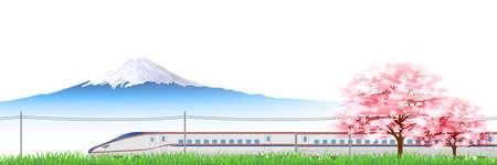 hokuriku: Shinkansen cherry Hokuriku background Illustration