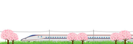 shinkansen: Shinkansen cherry Hokuriku background Illustration