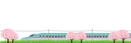hokkaido: Shinkansen Cherry Hokkaido background Illustration