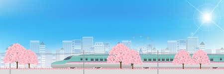 shinkansen: Shinkansen Cherry urban background