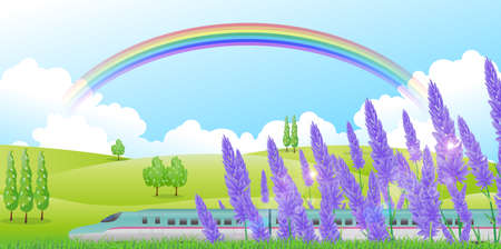 hokkaido: Shinkansen lavender Hokkaido background Illustration