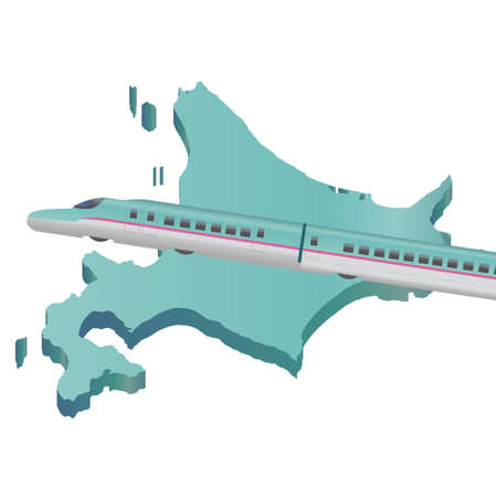 shinkansen: Shinkansen Hokkaido map icon Illustration