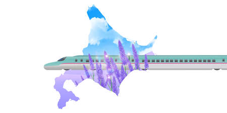 shinkansen: Shinkansen lavender Hokkaido background Illustration