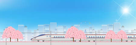 shinkansen: Shinkansen spring urban background