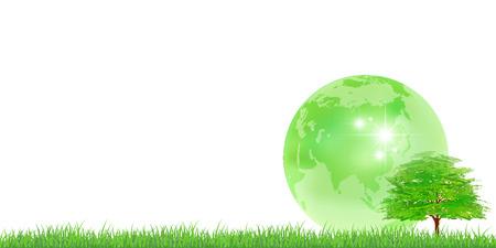 지구의 나무 신선한 녹색 배경 일러스트