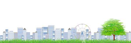 city background: City streets tree background Illustration