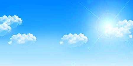 Sky clouds landscape background Vectores