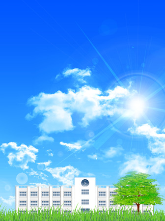École arbre ciel fond Vecteurs