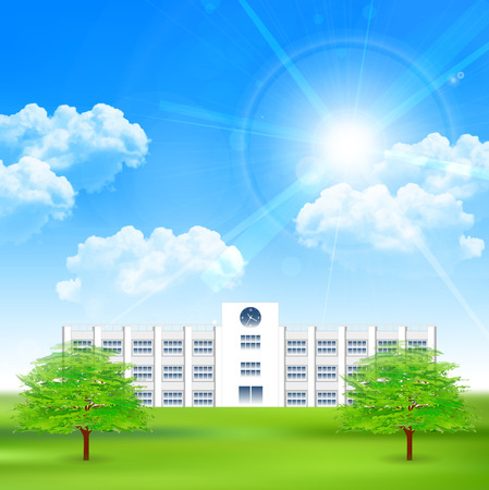 School tree sky background