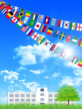 meet: School athletic meet national flag background