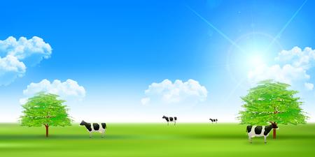 ranch: Cattle ranch landscape background Illustration