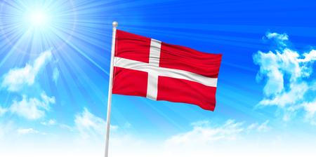denmark flag: Denmark Flag sky background Illustration