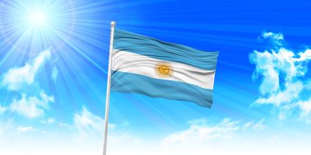 bandera argentina: Bandera Argentina cielo de fondo Vectores