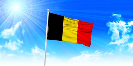belgium flag: Belgium Flag sky background Illustration