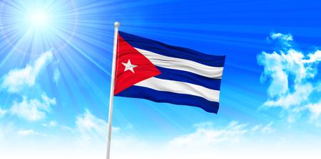 bandera de cuba: Bandera de Cuba fondo del cielo Vectores