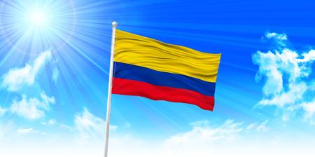 columbia: Columbia Flag sky background
